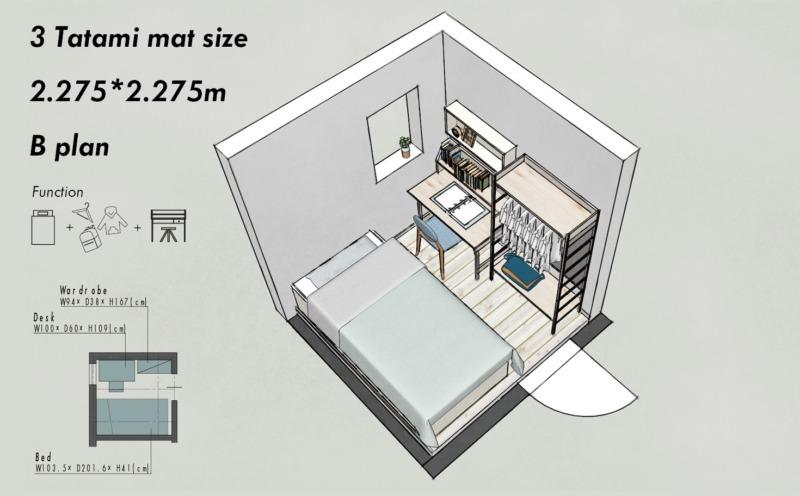 3畳の子供部屋レイアウトB