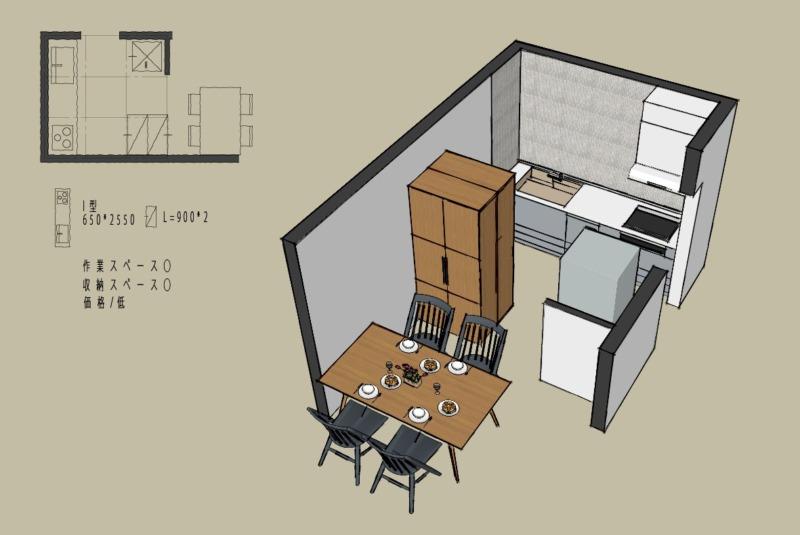 キッチン4.5畳1型壁付けレイアウト2