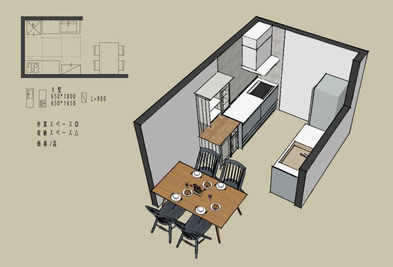 キッチン4.5畳2型壁付けレイアウト