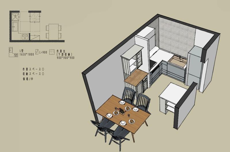 キッチン4.5畳L型壁付けレイアウト3