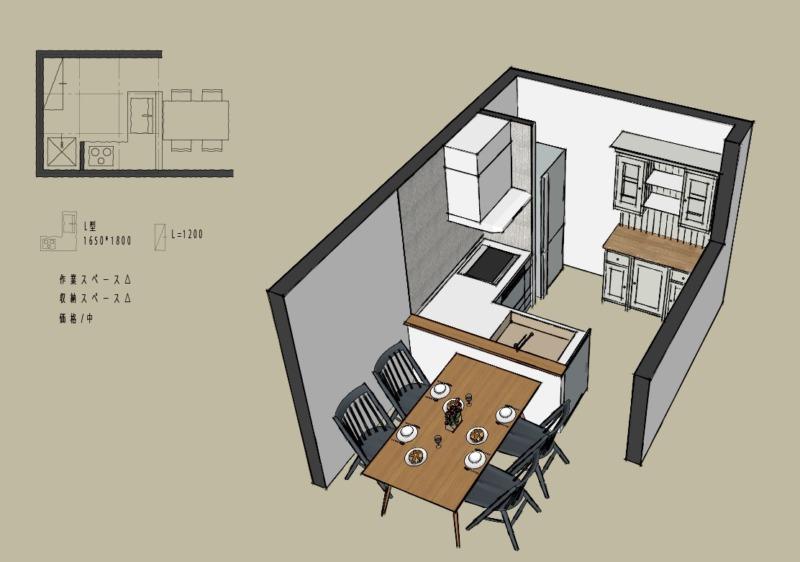 キッチン4.5畳L型対面レイアウト