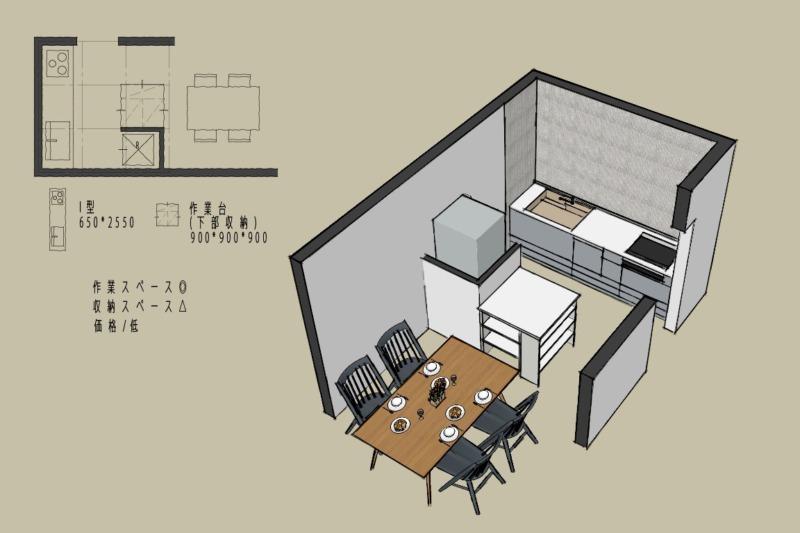 キッチン4.5畳1型壁付けレイアウト3