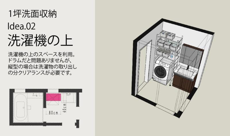 洗面タオル肌着収納方法2洗濯機の上を利用する