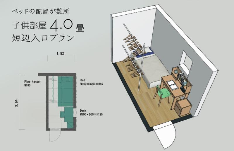 4畳子供部屋レイアウト1